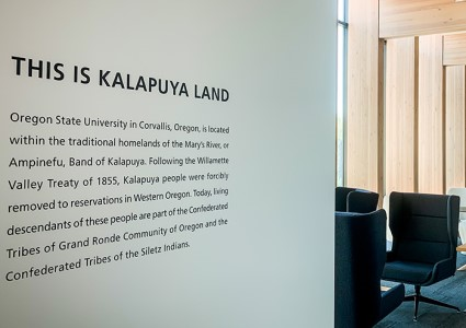 Photo of Land Acknowledgement Statement outside CoF Dean's Office